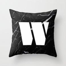 Black Marble - Alphabet W Throw Pillow