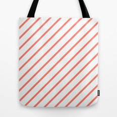 Diagonal Lines (Salmon/White) Tote Bag