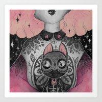 black cat Art Prints featuring Black Cat by lOll3