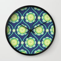 Citrus Flowers Blue Wall Clock