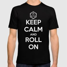 Keep Calm and Roll On SMALL Mens Fitted Tee Black