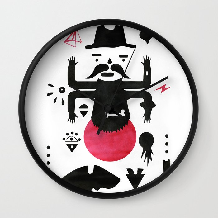 Black and red wall clock by uini society6 for Red and black wall clock