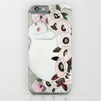 iPhone & iPod Case featuring White Rabbit, Pink Poppies by Sirius
