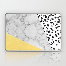 Marble Gold Dots - modern hipster trendy shiny gold foil cell phone case iphone dorm college Laptop & iPad Skin