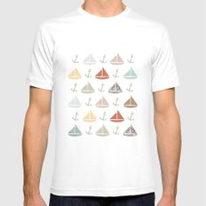 boats and anchors pattern Mens Fitted Tee White SMALL