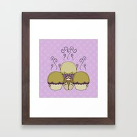 Cute Monster With Yellow And Purple Frosted Cupcakes Framed Art Print
