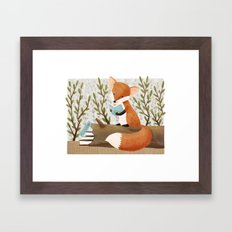 The Bookish Forest: Fox Framed Art Print