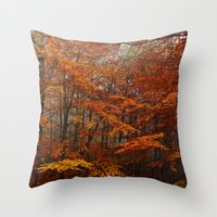 Orange Leaves Trees Forest Color Photo Throw Pillow