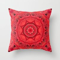 Beautiful Red Rose Manda… Throw Pillow