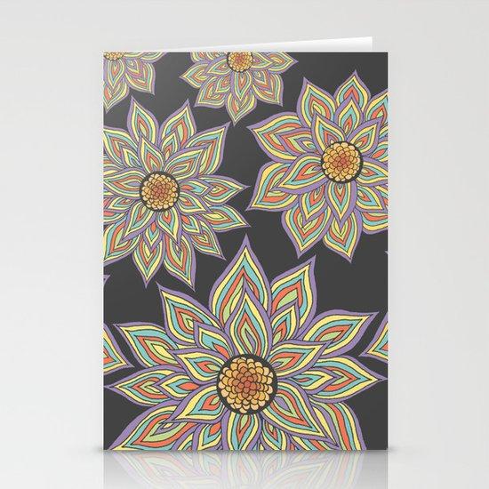 Floral Rhythm In The Dark Stationery Card