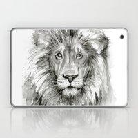 Lion Watercolor Black and White Animal Portrait Laptop & iPad Skin