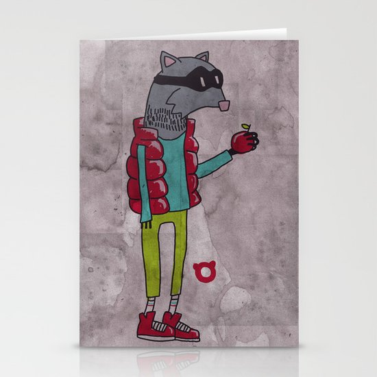 006_raccoon Stationery Card