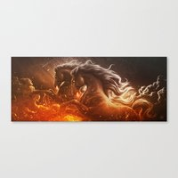Fire With Horses Canvas Print