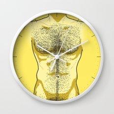 Hairy Torso - Yellow Wall Clock