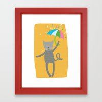 a cat is always prepared for the rain Framed Art Print