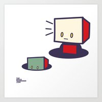 Robots In Holes Art Print