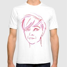 Pink Portrait SMALL Mens Fitted Tee White