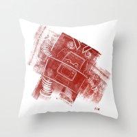 Red Robot! Throw Pillow