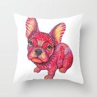 Raspberry Frenchie Throw Pillow