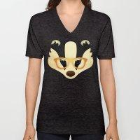 Hipster Badger: Gold Unisex V-Neck