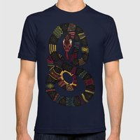 geo snakes Mens Fitted Tee Navy SMALL