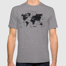 The World Map Mens Fitted Tee Athletic Grey SMALL