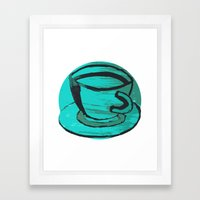Tea Cup In Green Framed Art Print