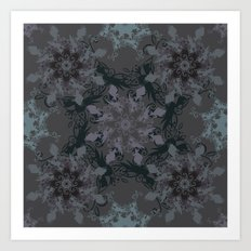 Damask, grey Art Print