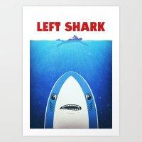 Left Shark Parody - Jaws… Art Print