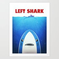 Left Shark Parody - Jaws… Art Print