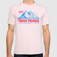 Visit Twin Peaks (hot pink) Mens Fitted Tee Light Pink SMALL