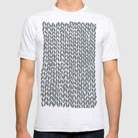 Hand Knit Grey Mens Fitted Tee Ash Grey SMALL