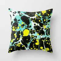 Space Blue Marbling Throw Pillow