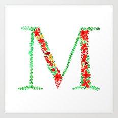 Floral Monogram Letter M Art Print