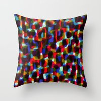 Multicoloured pattern - painted and digital. Throw Pillow