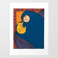 Golden Pig Art Print