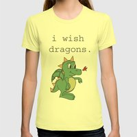 I wish dragons Womens Fitted Tee Lemon SMALL