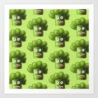 Green Funny Cartoon Broccoli  Art Print