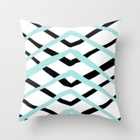 Pattern, turquoise and black Throw Pillow
