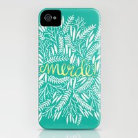 iPhone Cases featuring Pardon My French – Gold on Turquoise by Cat Coquillette