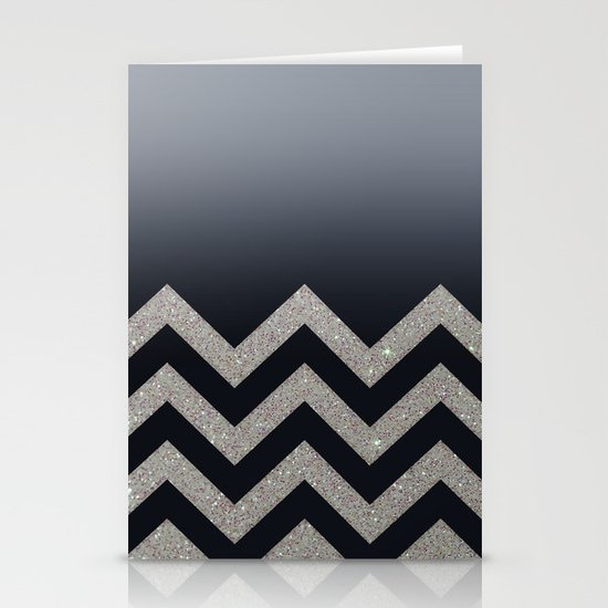 BLACK FADING SILVER CHEVRON Stationery Card