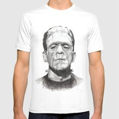 Frankenstein White Mens Fitted Tee SMALL