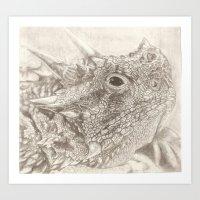 The Horned Lizard. Art Print