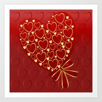 Gold Hearts On Rich Red Art Print