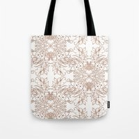Dotted Floral Scroll Sepia Tote Bag