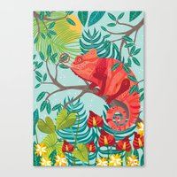 The Red Chameleon  Canvas Print