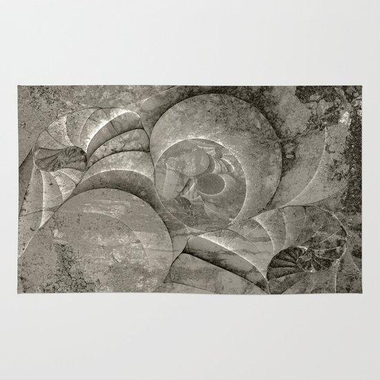 Fossilized Shells - Black & White Area & Throw Rug