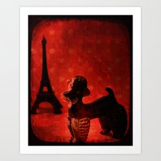 A Poodle in Paris Art Print