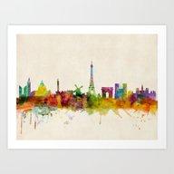 Paris Skyline Watercolor Art Print