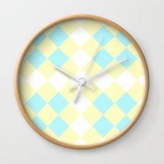 Checkers Yellow/Blue Wall Clock
